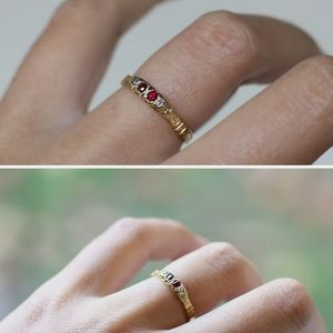 Antique victorian diamond & ruby ring 18k